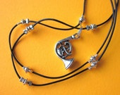 French horn silver charm necklace