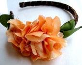 PETRA Peach Dupioni Silk Rosette Headband LIMITED EDITION