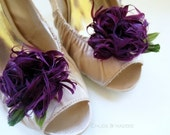 MARILYN in Purple Eggplant feather flower shoe clips for weddings, special occasions(set of two)