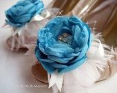 JODI  Aqua fabric flowers, feathers and rhinestone special occasion shoe clips, weddings, something blue