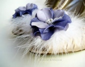 HOLLEIGH Lavender and purple flowers and feathers Wedding, Boudoir , special occasions shoe clips