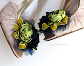Vintage inspired navy and chartreuse custom handmade shoe clips, for weddings, special occasions, photography prop. KATIE