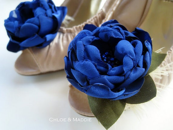 AIKO Cobalt blueor electric blue handmade fabric flowers shoe clips for weddings, special ocassions, bridal party