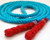 Single Jump Rope Skipping Rope, Hand-Spliced and Dyed, Turquoise & Red