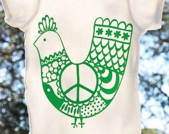 Organic Cotton Baby Onesie, Green 'Peace Chicken' Size 12 Months