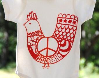 Organic Cotton Baby Onesie, Red 'Peace Chicken' Size 18 Months