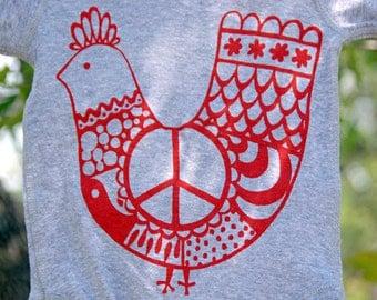 Baby Onesie, Red 'Peace Chicken' on Gray Onesie.