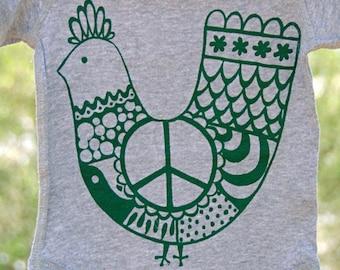 Baby Onesie Green 'Peace Chicken' on Gray Onesie.