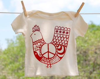 Organic Cotton Lap Shirt, Red 'Peace Chicken' on Natural Shirt