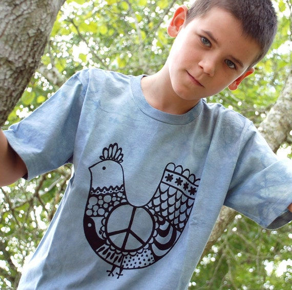 Peace Chicken T-Shirt Tee, Organic Cotton Hand Dyed, Youth Size XL