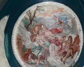 Antique Victorian Handled Porcelain Portrait Cherub Vase