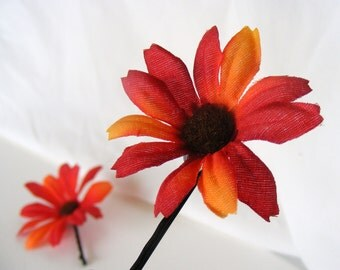 Tequila Sunset - pair of medium sunset-colored DAISY clips - customizable on bobby pin, barrette, comb or alligator clip