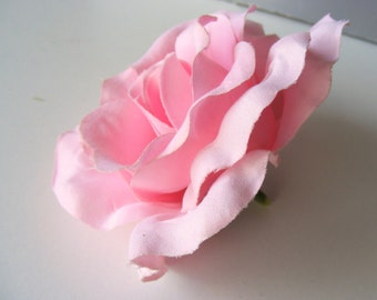 Rosey velvet (light) pink - jumbo light pink velvet ROSE - customizable on bobby pin, barrette, comb or alligator clip