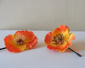 Petits POPPIES - duo o fire - customizable on bobby pin, barrette, comb or alligator clip