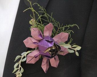 Boutonniere, Corsage, Buttonhole - Everlasting paper lotus