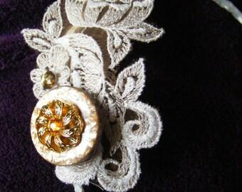 HEADBANDERS - embellished vintage appliqué on satin band - Swarovski button and gems