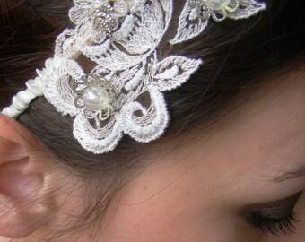 HEADBANDERS - vintage appliqué on satin band - flowery floral filigree and beads