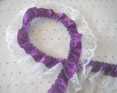 Purple Satin and White Lace Ruffle Trim