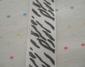 "White and Black Zebra Print Grosgrain Ribbon, 7/8"" Wide - 2 Yards"