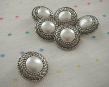 Antique Silver Filigree Pearl Shank Buttons (6)