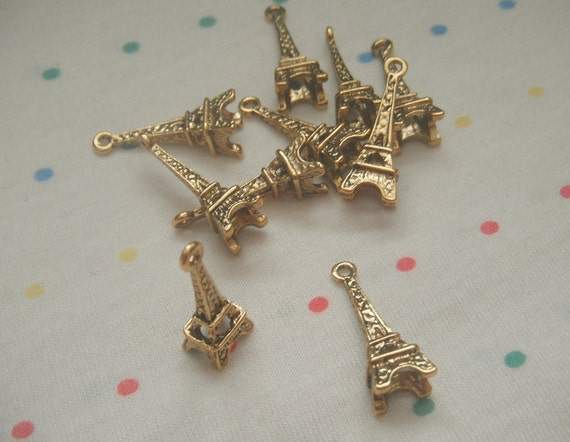 "Antique Gold Eiffel Tower Paris Charms, Antique Finish, Alloy Metal, 1"" Long  (10)"