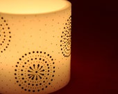 Snowflakes and stars - handmade hurricane candle painted with henna