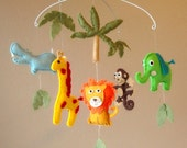 Safari / Jungle Friends Baby Mobile - Giraffe, Elephant, Monkey, Hippo, Lion, and Tree (Custom Felt Colors and Animals Available)