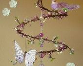 Purple Berry Sunset - Spiral Branch Mobile Chandelier with Perched Bird and Butterfly (Limited Edition)