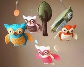 Lifes a Hoot Owl Baby Mobile with Tree (Custom Felt Colors Available)