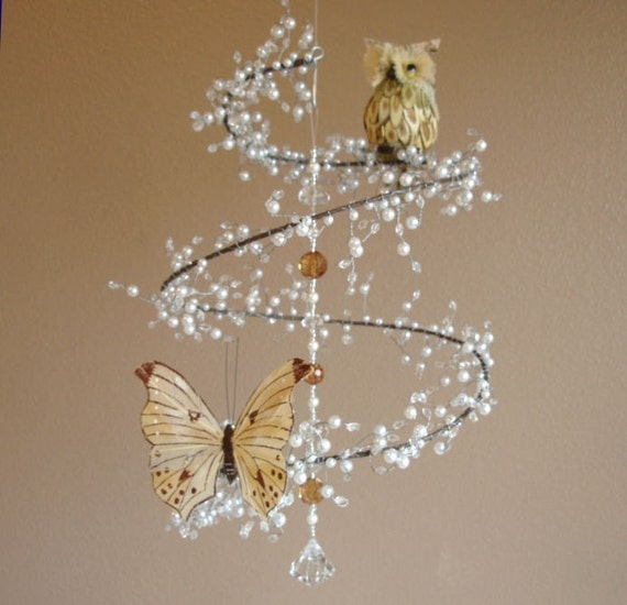 Pearl And Crystal Mobile Chandelier With Perched Owl And