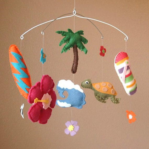Surfs up felt baby mobile surf board hibiscus flower by for Diy felt flower mobile