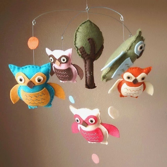 Lifes a Hoot Owl Felt Baby Mobile with Tree  (Custom Colors Available)