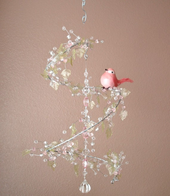 Pink and Green Leaf Crystal Mobile Chandelier w\/ Perched Bird