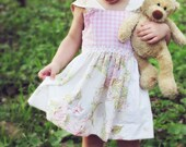 SALE Girls Gingham Dress Daisy Trim Upcycled linens