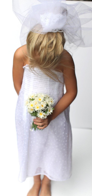 Play costume little girl 39 s wedding dress and veil for Dress for wedding for girls