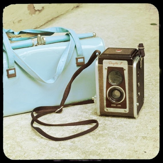 Fine art ttv print, blue vintage purse, Kodak Duaflex camera, 8x8 photograph