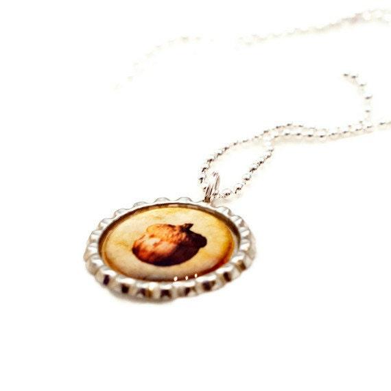 Bottlecap Macro Photo Necklace, Autumn Acorn Pendant, Amber, Brown, Teen Fashion