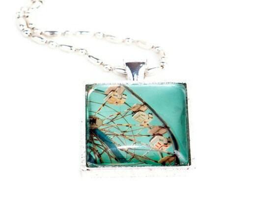 Wearable Art Photo Pendant, seen at GBK MTV Movie Awards Gift Lounge, Ferris Wheel Photograph, aqua blue sky, Gift for Her,