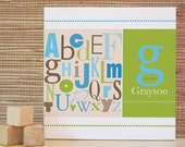 Name Wall Art, Nursery Decor, Kids Room Art, Letters on Canvas, Personalized Artwork. 10x10 Custom ABC Canvas - Blue/Green