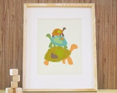 Nursery Art. 11x14 Stacked Turtles Print - Kids Wall Art