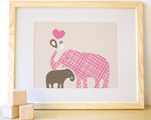 Elephant Kids Wall Art Print for Nursery and Children's Room, Nursery Art. 8x10 Baby and Mommy Elephant Print - Pink/Brown