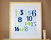 Children Art, Decor for Baby Nursery, Kids and Children Rooms. 16x20 Count to 20 Print - Navy Blue/Green