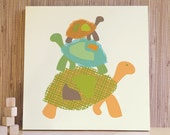 Turtle Kids Artwork, Turtle Wall Art, Stacked Turtles, Kids Wall Art, Baby Nursery Decor. 20x20 Turtles Canvas