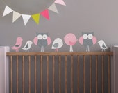 Kids Wall Decal, Baby Room Wall Decal, Decal for Babies, Owl Decal, Birds Wall Decal. Birds and Owls Children Wall Decal