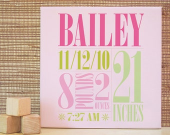 Baby Announcement, Baby Gift, Decor for Nursery, Custom Name Art, Baby Room Art. 10x10 Custom Birth Canvas Wall Art - Green/Pink