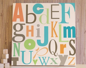 Nursery Art, Decor for Baby Nursery, Kids and Children Rooms. 20x20 ABC Canvas - Green/Orange