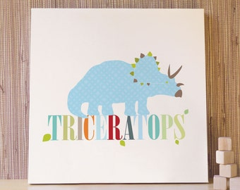 Dinosaur Wall Art, Decor for Baby Nursery, Kids and Children Rooms. 20x20 Triceratops Canvas