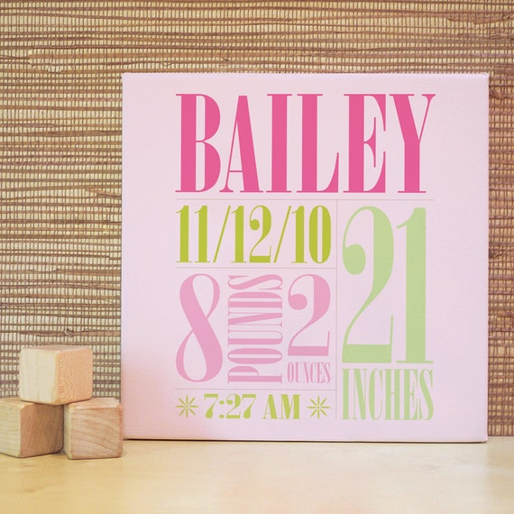 Baby Announcement, Baby Gift, Decor for Nursery, Custom Name Art, Baby Room Art. 10x10 Custom Birth Canvas Wall Art - Green/Pink