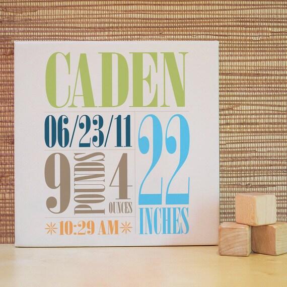 Personalized Nursery Art, Custom Children Decor for Baby Nursery, Kids and Children Rooms. 10x10 Custom Birth Canvas - Blue/Green