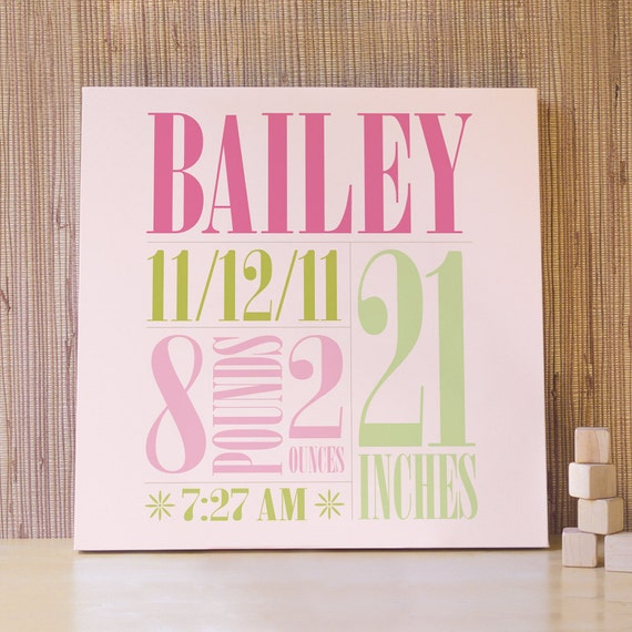 Personalized Nursery Art, Decor for Baby Nursery, Kids and Children Rooms. 20x20 Custom Birth Canvas - Green/Pink
